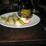 Grilled artichokes and vegetable medley with marinated radishes and maltaise sauce