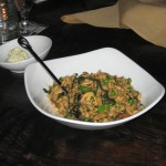 Spaetzle with blazei mushrooms, onions, fava beans and seasonal greens