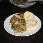 Spaetzle with Blazei mushrooms, onions, fava beans and seasonal greens; smoke chicken hables marinated in citrus juice, olive oil and herb emulsion over arugula; thyme rolls with lavender butter